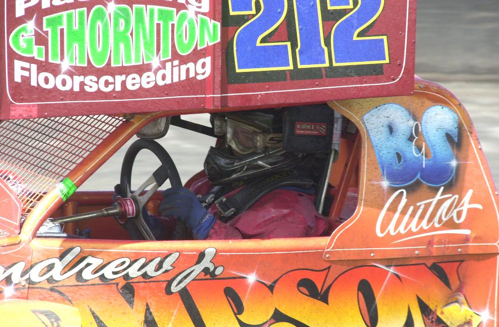 Danny in his tarmac car