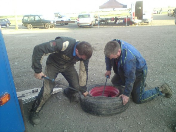 Tyre change in the pits