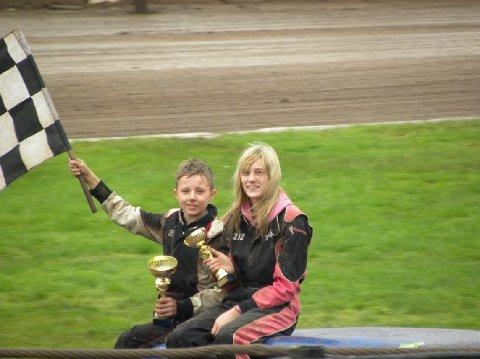 Victory lap for race winner Frankie JJ and runner-up Phoebe