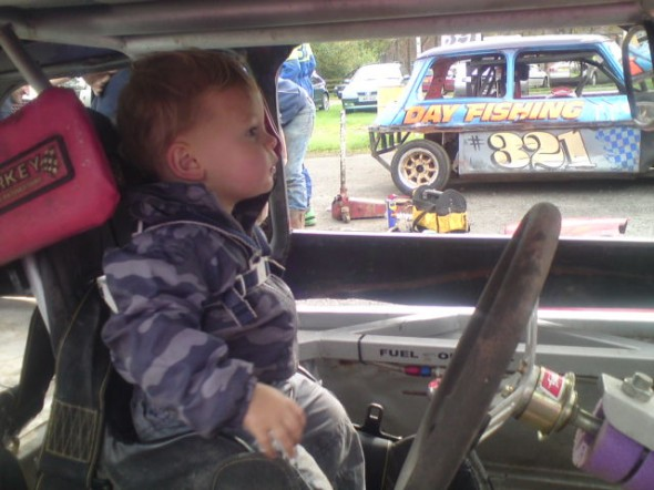 Wez and Vicki's son Mason loves to pretend to be a top driver! One day he will be.