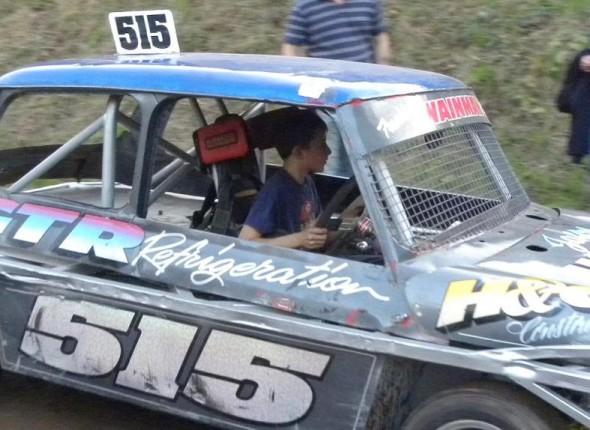 Frankie JJ driving through the pits