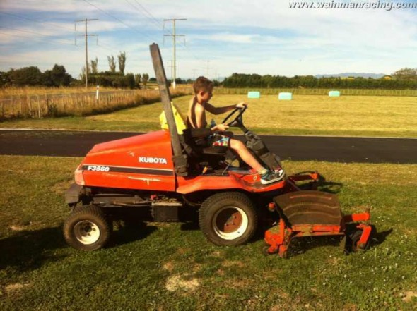 Frankie JJ earning his keep by mowing Scotty's lawn