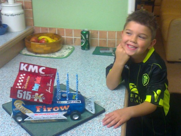 Harry Taylor and his birthday cake, made by his auntie.