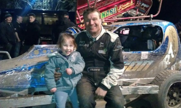 Lena Trevarthen age 3 with Frankie at Coventry. Lena's dad races a Rebel, and her uncle races an F2. She says she wants a pink Ministox like Phoebe's!