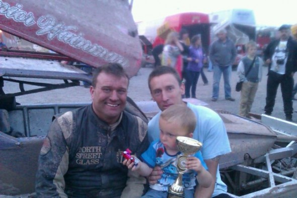 Two year old Michael Murphy, and his dad Dave, at Stoke last year after Frankie gave Michael his trophy.