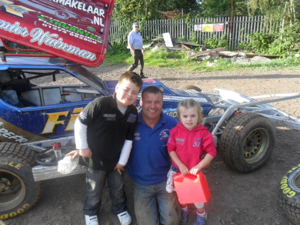 Ben (8) and Poppy (4) Crosby, at Coventry last year. Ben loves the noise and racing, Poppy loves the social side and sitting in cars.