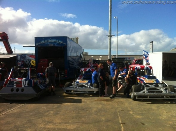 In the pits pre-meeting... the calm before the storm!