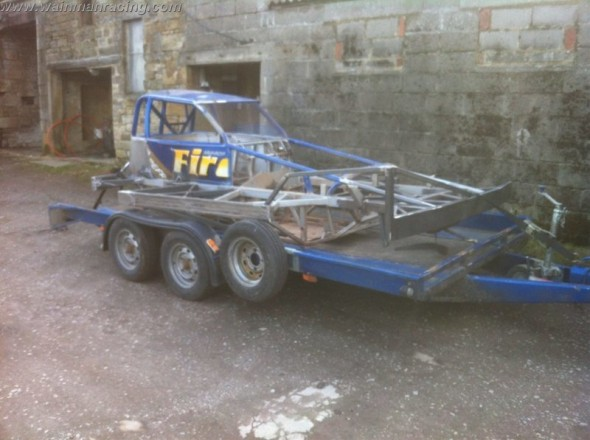 The shale car on it's way to the paint shop last Sunday evening.