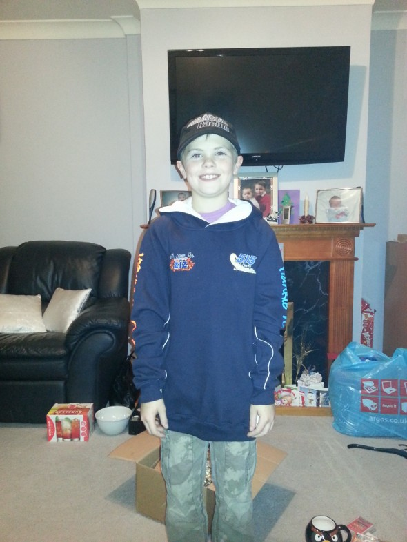 Holly Procter's cousin with his new Wainman hat and hoodie.