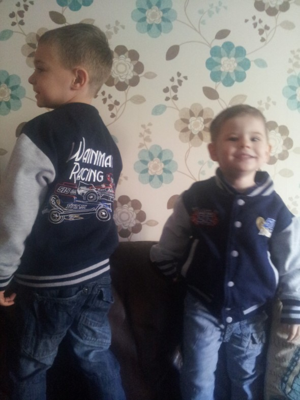 Jayden and Casey Tyler loving their new stock car coats.