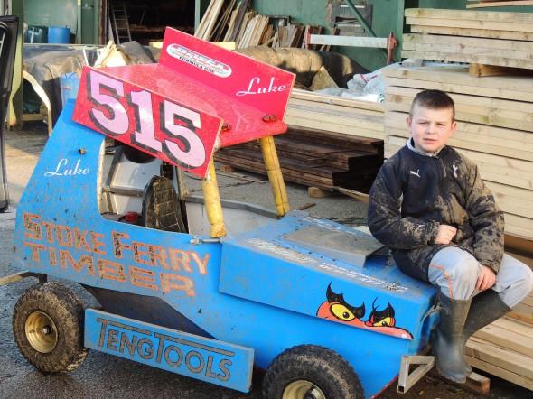 Luke with his mini 515 car.
